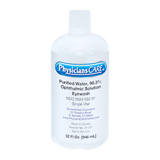 EMERGENCY EYE WASH STATION ACCESSORIES, 32 oz REFILL BOTTLE (Sterile)