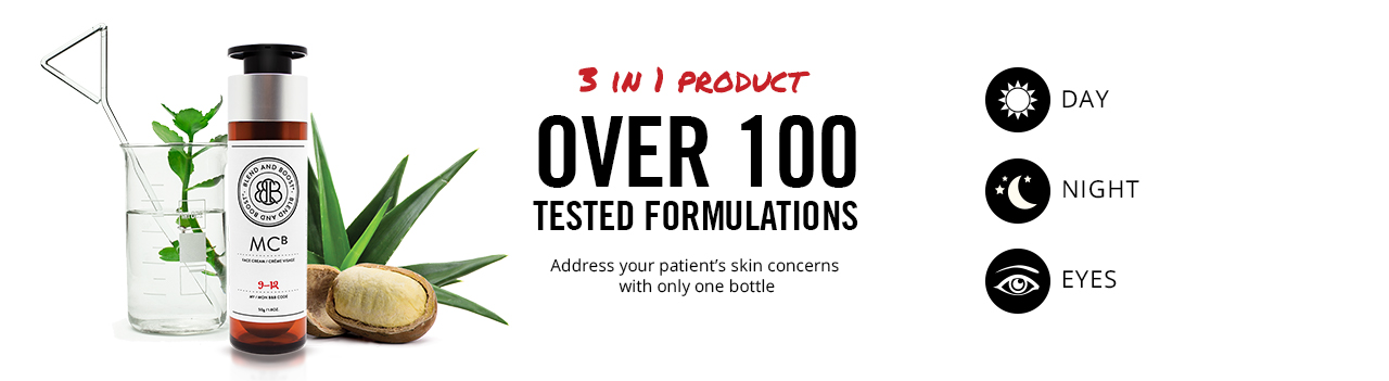 3 in 1 Product. Over 100 tested formulations. Address your patient's skin concerns with only one bottle.